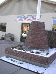Flagpole and base at VFW