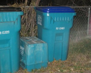 Old bins (middle) and new (right)